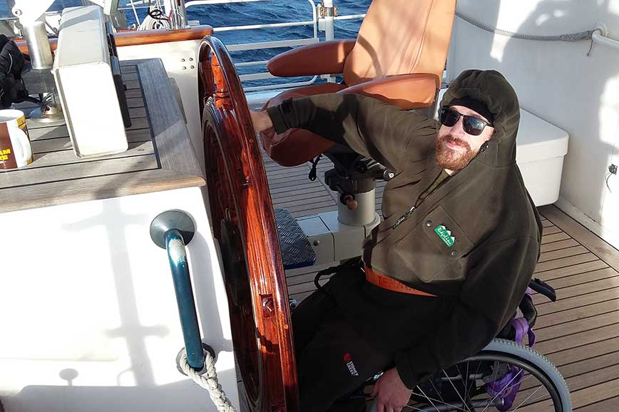 Ollie experiencing sailing on the SV Tenacious